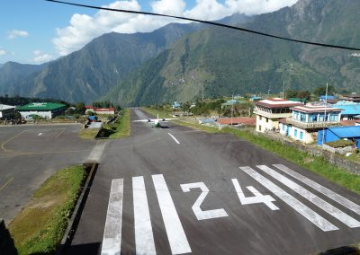 A plane taking-off from Lukla airstrip