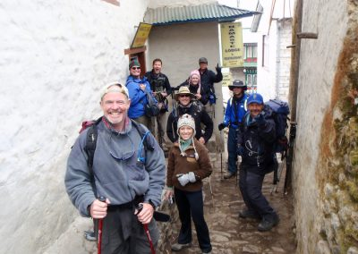 Leaving Namaste Lodge in Namche for the acclimatization trek to Khumjung