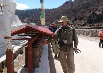 Turning the prayer wheels in Khumjung