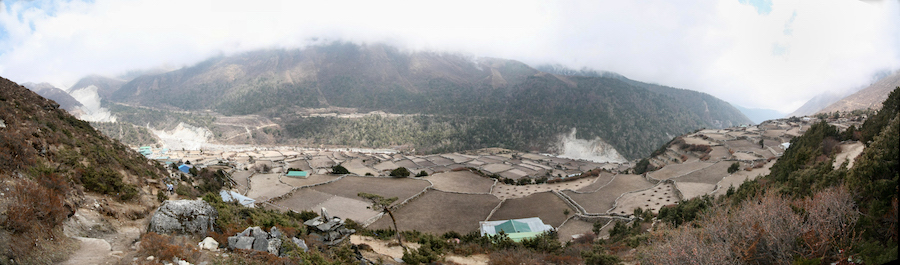 Panorama of lower Pangboche (courtesy Malcolm Dodds)