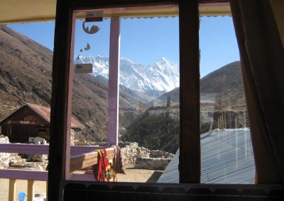 The view from Sonam Lodge - summits of Everest and Lhotse clearly visible