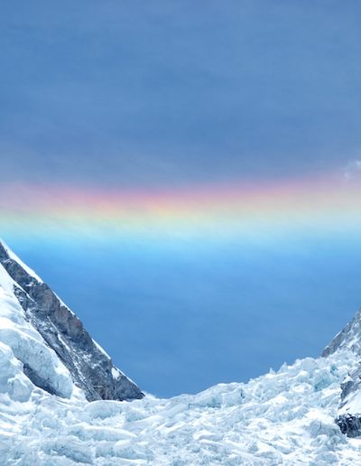 Stunning rainbow over the Icefall taken from Base Camp