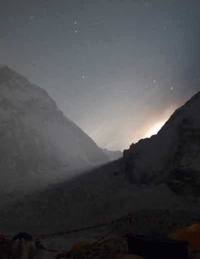 Full moon rising behind Nuptse Everest Base Camp