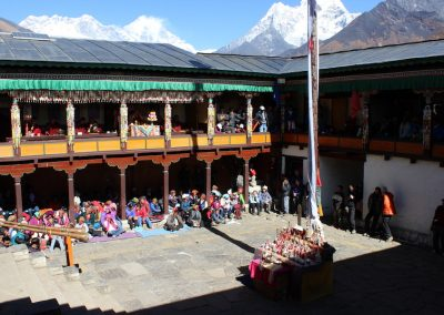 Mani Rindu, Tengboche monastery. Everest, Lhotse and Ama Dablam in the background