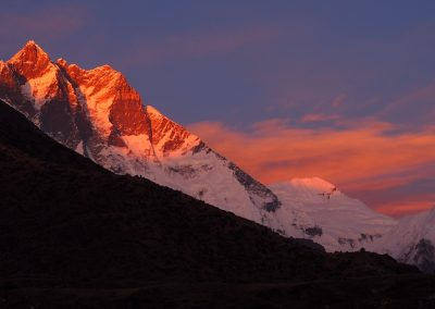 Sunset on Lhotse view from Chukkung