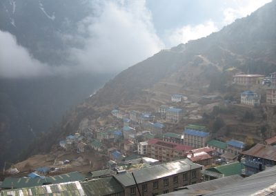 Namche Bazaar in early morning haze