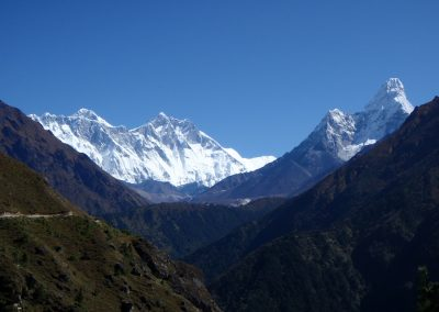 Everest left Lhotse middle Ama Dablam right.