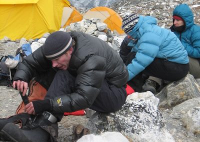 Final adjustments to boots prior to summit night