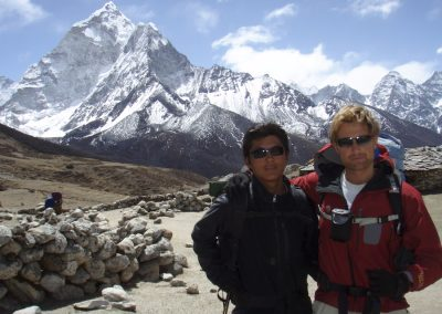 Rob and Ang Nuru on the plateau above Pheriche. Ama Dablam in the background