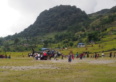 The Helicopter causing immense interest in the villagers