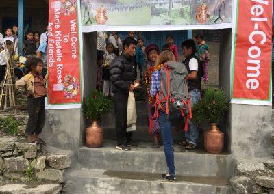 An amazing welcome to Chheskam school.  The headmaster Kumars wife and MK