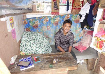 Bhabiram's studio - bed, office and kitchen!