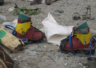 Plastic boots and crampons
