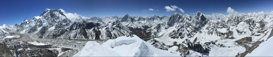 The climb  - Panorama of Lobuche East summit, taken from the middle summit of Lobuche mountain