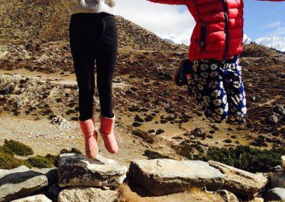 Palden and Dawa Phutti - jumping for joy. Pheriche